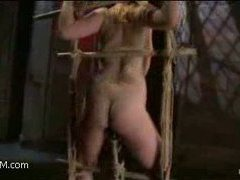 great girl, tight ropes, a huge dildo and intensive orgasms
