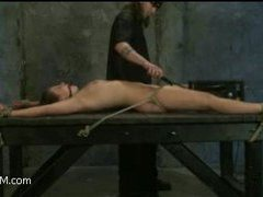 a cute brunette gets bondaged and tortured