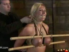 a stunning blonde with gorgeous tits gets tied up and fucked with a dildo