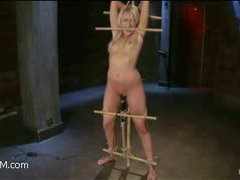 a smoking hot blonde with tight ass and small tits gets hogtied