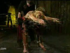 a stunning blonde gets tied up and bound hard, then orgasms drained from her gorgeous body