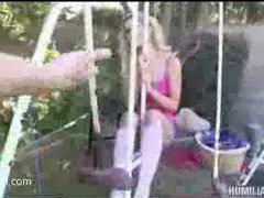 some happy fucking on the swing set for a blonde teen