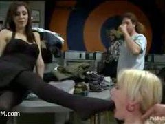 a hot blonde babe gets sexually abused in the laundromat