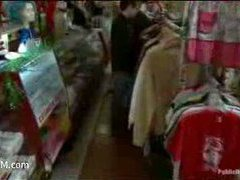 a gorgeous busty blonde gangbanged in a shop