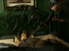 a girl was sleeping and suddenly got tied up and bound