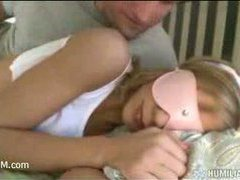 a cute blonde teen wakes up and gets a cock in