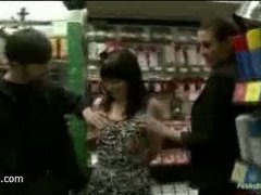 a bound girlie pleases strangers in a hardware store