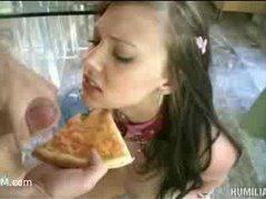 a delivery girl gets some cum sauce on her pizza