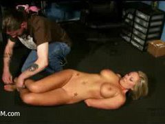 a blonde whore gets tied and abused