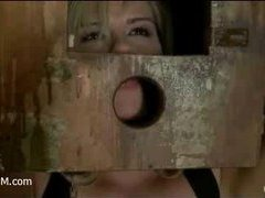 a blonde beauty is boxed before she suffers mightily