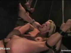 a gorgeous blonde tries bondage sex for the first time
