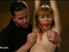 Great orgasmic bondage action with redhead hottie