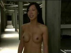 Asian slut put to the test in the armory basement