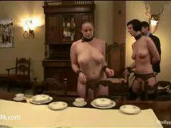 Cherry and Bella are laying the table and fucked on it