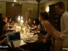 A squirting slave gets inducted on the high-scale dinner