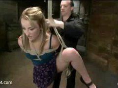 A flexible young slut suffers in sophisticated suspension