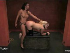 a blonde with a tight ass gets strapon-fucked, fisted and dominated