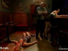 Two spunky bitches get restrained by horny bartender