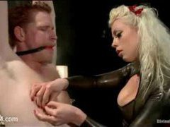 A male slave cuckolded by imperious mistress and her horny sub