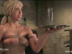 a gorgeous blonde girls gets trained how to behave herself