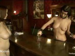 A horny slut slave performs pole dance for her master