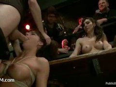 A sizzling hottie face fucked and squirts in the bar