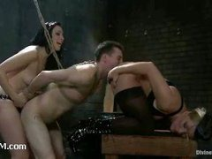 A slutty slave boy anally abused by two mistresses
