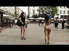 Two hot cuties undressed and humiliated out in the streets