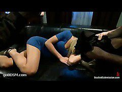 A lustful blonde gets double penetrated
