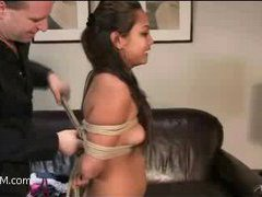 another tight-bodied asian girl comes to try feeling of a rope