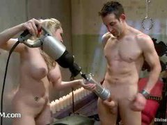 A pathetic slave boy anally abused by a huge strap-on