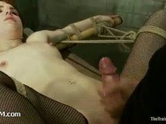 A redheaded slut whipped and submitted to labor