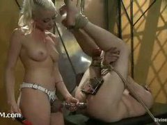 A horny slave boy tortured in ice cold chastity belt