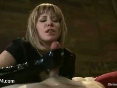 A submissive slaveboy milked and tortured b Maitrsse Madline