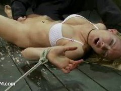 A stunning chick goes delirious from brutal orgasms