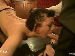 Two finest slaves strap-on fucking each other and eating cum