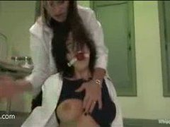 a newcomer lab assistant gets caught by her evil boss and humiliated
