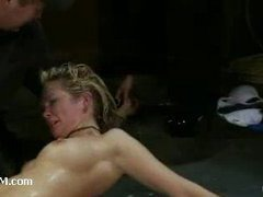 A submissive whore fisted to gut wrenching orgasms