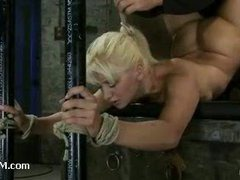 A limber blondie gets ass hook in a Scorpion tie