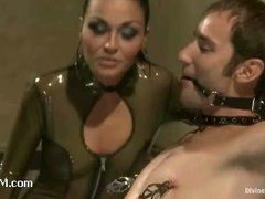 A handsome slave strap-on fucked by his real life mistress