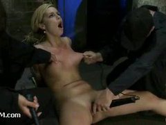 Cute blondie suffers from brutal crotch rope tension