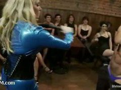 Male stripper dominated by 40 women at the birthday party