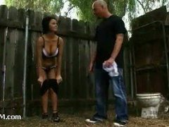 Hot brunette restrained and punished for trespassing