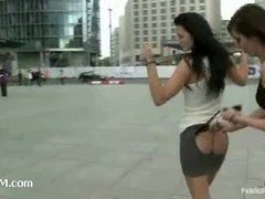 Stunning euro slut gets suspended from the bridge for everyone to see