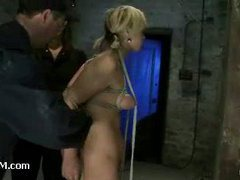 Luscious blonde slut suffers mightily in wicked suspension