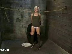 Nubile cutie made to squirt in a special unique rope prison