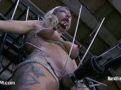 A blond whore fucking herself with an ass hook