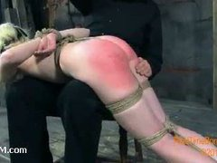 A tattooed blondie spanked over the knee till her ass turns red