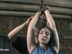 Plump hottie gets securely restrained for cock feeding
