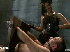 A stunning mistress using slave boy for ass and feet worship